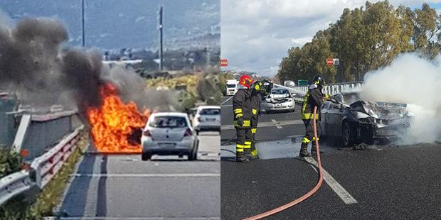 Tamponamento a catena sull a18 auto prende fuoco ferita una donna - Incidente giardini naxos oggi ...